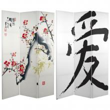 6 ft. Tall Double Sided Cherry Blossoms and Love Canvas Room Divider  :: Folding Room Dividers