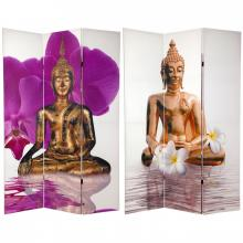 6 ft. Tall Double Sided White Thai Buddha Room Divider :: Folding Room Dividers