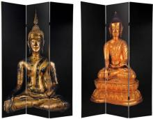 6 ft. Tall Double Sided Black Thai Buddha Room Divider :: Folding Room Dividers