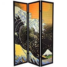 6 ft. Tall Japanese Wave Shoji Screen :: Japanese Shoji Screens