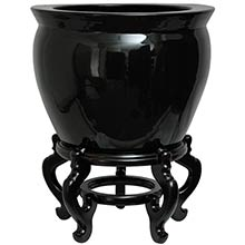 Solid Black Porcelain Fish Bowl :: Chinese Fish Bowls