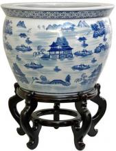 Landscape Blue and White Porcelain Fish Bowl ::
