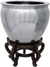 Pure Silver Porcelain Fish Bowl :: Chinese Fish Bowls