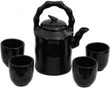 Solid Black Porcelain Tea Set :: Chinese Tea Sets