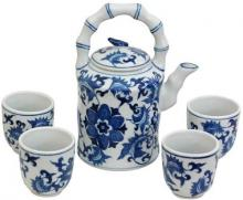 Floral Blue and White Porcelain Tea Set :: Chinese Tea Sets