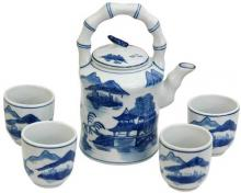 Landscape Blue and White Porcelain Tea Set :: Chinese Tea Sets