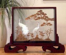 Nesting Peacocks :: Cork Sculpture