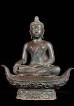 """20"""" Chiang Saen Buddha Statue Seated on Boat :: Buddha Decor"""