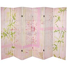 5 ft. Pink Harmony Canvas Room Divider :: Double Sided Shoji Screens