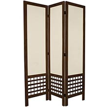 "67"" Tall Burnt Brown Open Lattice Fabric Room Divider :: Japanese Shoji Screens"