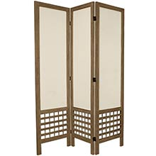 "67"" Tall Burnt Grey Open Lattice Fabric Room Divider :: Japanese Shoji Screens"