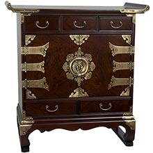 Korean Antique Style 5 Drawer End Table Cabinet :: Asian Style Furniture