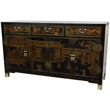 Black Lacquer Large Buffet Table :: Asian Style Furniture