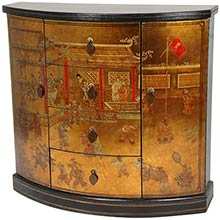 Gold Leaf Village Market Cabinet :: Asian Style Furniture