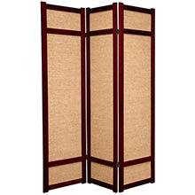 6 ft. Tall Jute Shoji Screen (Rosewood) :: Bamboo Decor