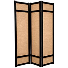 6 ft. Tall Jute Shoji Screen (Black) :: Bamboo Decor