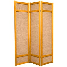 6 ft. Tall Jute Shoji Screen (Honey) :: Bamboo Decor