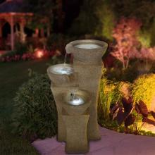Cascade Bowls Fountain with LED Lights :: Indoor Water Fountains