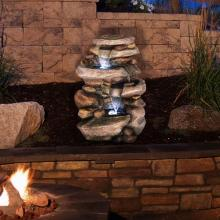 Stone Waterfall Fountain with LED Lights :: Indoor Water Fountains