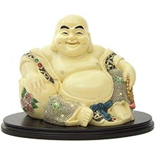 "7"" Sitting Fat Buddha on Stand :: Buddhist Statues"