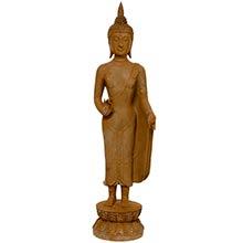 "21"" Thai Standing Gebon Rust Patina Buddha Statue ::"