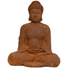 "12"" Japanese Sitting Zenjo-in Rust Patina Buddha Statue"