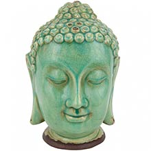"10"" Ceramic Thai Buddha Head Statue :: Buddhist Statues"