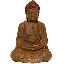 "9"" Japanese Sitting Zenjo-in Rust Patina Buddha Statue"