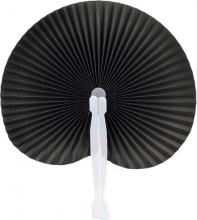 Black Round Folding Hand Fan 10-pack ::