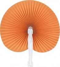 Orange Round Folding Hand Fan 10-pack ::