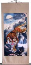 "Giant 63"" Stealth Tiger Chinese Print Scroll :: Chinese Scroll Paintings"