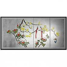 Love Birds on Silver Leaf :: Japanese Silk Paintings
