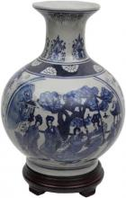 "12"" Ladies Blue & White Porcelain Vase :: Porcelain Vases"