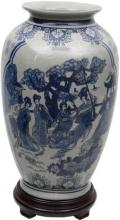 "14"" Ladies Blue & White Porcelain Tung Chi Vase :: Porcelain Vases"