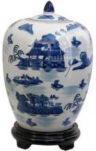 """11"""" Landscape Blue & White Porcelain Vase Jar :: Porcelain Vases"""