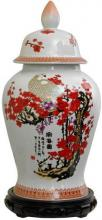 "18"" Cherry Blossom Porcelain Temple Jar :: Porcelain Vases"