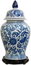 "18"" Floral Blue & White Porcelain Temple Jar :: Porcelain Vases"