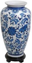 """14"""" Floral Blue & White Porcelain Tung Chi Vase :: Porcelain Vases"""