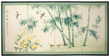 Bamboo and Five Birds :: Chinese Silk Paintings