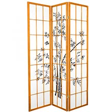 6 ft. Tall Lucky Bamboo Room Divider Honey Finish) ::