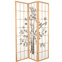 6 ft. Tall Lucky Bamboo Room Divider (Natural Finish) :: Japanese Shoji Screens