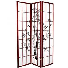 6 ft. Tall Lucky Bamboo Room Divider (Rosewood Finish) ::