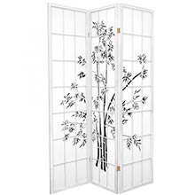 6 ft. Tall Lucky Bamboo Room Divider (White Finish) :: Bamboo Decor