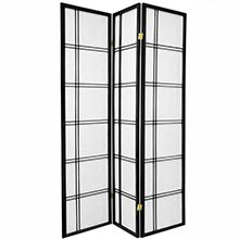 6 ft. Tall Double Cross Shoji Screen (Black Finish) ::