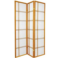 6 ft. Tall Double Cross Shoji Screen (Honey Finish) :: Japanese Shoji Screens