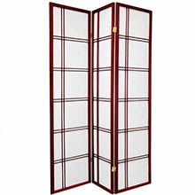 6 ft. Tall Double Cross Shoji Screen (Rosewood Finish) :: Japanese Shoji Screens