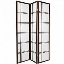6 ft. Tall Double Cross Shoji Screen (Walnut Finish) :: Japanese Shoji Screens