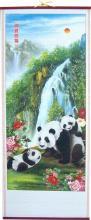 Carefree Pandas Chinese Scroll :: Chinese Scrolls