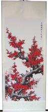 "67"" Red Sakura :: Chinese Scroll Paintings"