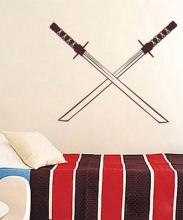 Crossed Katanas Wall Decal :: Asian Art Wall Stickers